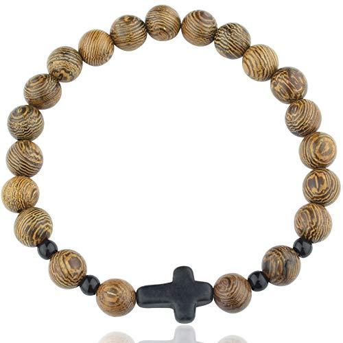 Wood Beaded Cross Bracelet