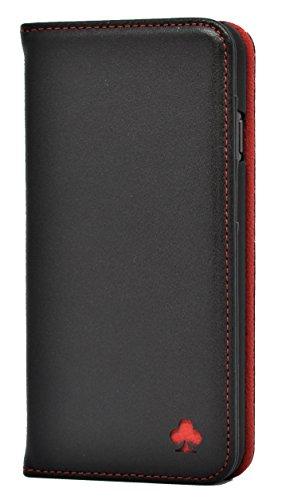 Porter Riley - Lederhülle für iPhone 6/6s Plus. Premium Echtleder Standhülle/Cover/Brieftasche kompatibel mit iPhone 6/6s Plus (Schwarz, Rot)