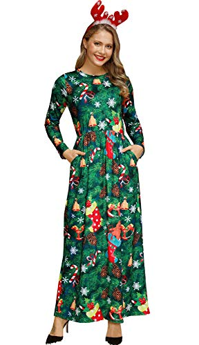 For G and PL Christmas Women Flared Printed Xmas Longsleeve Party Santa Claus Cosplay Gifts Maxi Dress Xmas Tree M