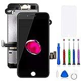 FLYLINKTECH écran pour iPhone 7 Plus Noir 5.5' LCD de Remplacement Complet - préassemblés LCD avec capteur de proximité, caméra Frontale, écouteur et Plaque arrière en métal Kit d'outils de réparation