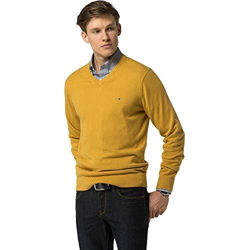 Tommy Hilfiger Mens Pima Cotton Cashmere V-Neck Sweater Yellow