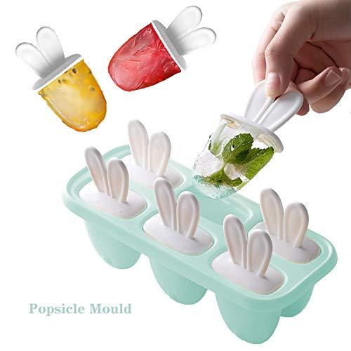 U&X Hooggle Eisformen 6 Eisformen Popsicle Formen Set,EIS am Stiel Bereiter Wiederverwendbar Popsicle Sticks, BPA Frei Mini Eisform für Kinder Baby (Blue)