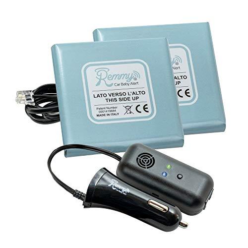 Remmy Dispositivo Anti Abbandono per Seggiolino Auto Bambini 0-4 anni Sistema con Allarme Presa Accendisigari USB Versione per 2 Seggiolini per Auto START AND STOP
