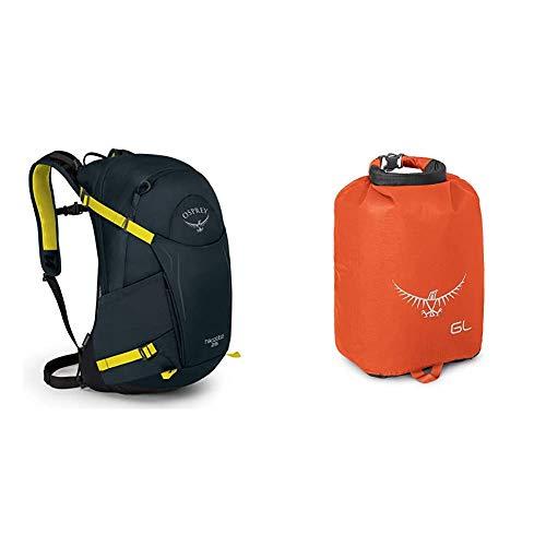 Osprey Hikelite 26 Unisex Hiking Pack Shiitake Grey OS Ultralight DrySack 6 Poppy Orange