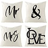 Beydodo Funda para Cojines de Sofa,Funda Cojin Sofa Pack 4,'Mr and Mrs Love,Funda Cojin 50x50 Vintage Fundas de Cojines para...
