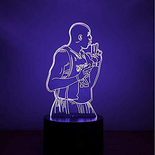 Lámpara de ilusión óptica Creativo 3D Led Colorido Acrílico Luz de noche Lámpara de mesa USB NBA Decoración de baloncesto Mesita de noche Lámpara de sueño para regalo de novio