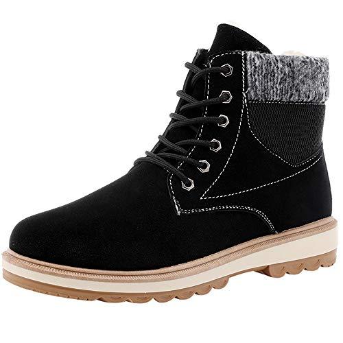 Vovotrade Sneeuwlaarzen voor heren, gevoerd, warm, slipvast, vlak, vrije tijd, sportschoenen, gezellig, korte schoen