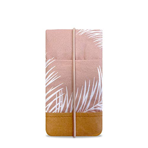 Koeratist telefoonhoes - Handgemaakt katoen met designerprint en randbescherming van wasbaar papier in lederlook (Vegan-Friendly), iPhone 11 Pro/X/Xs Galaxy S10/S9/S8/S7, Palm Leaves Blush