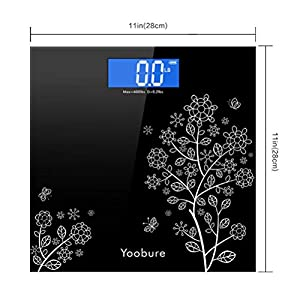 Weight Scale, Precision Digital Body Bathroom Scale with Step-On Technology, 6mm Tempered Glass Easy Read Backlit LCD Display, 400 Pounds (Dark Black)