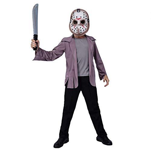 Youyuekefu Kinder Halloween Kostüme,Cosplay Kostüme,Jason Killer,Film-Charaktere,Kostüme,Horror-Kettensäge Angst Kostüme,Ghost Festival Cosplay Party Kostüme (ohne Messer) L