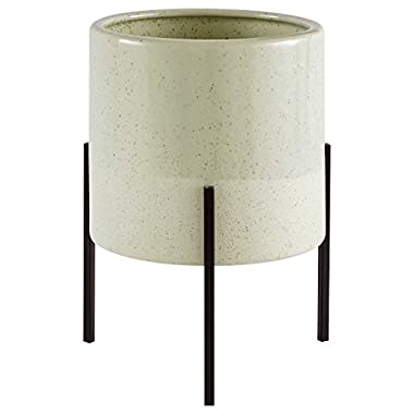 Rivet Mid-Century Ceramic Planter with Iron Stand 9.1  H, Green