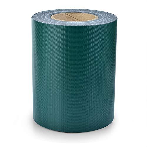 S SIENOC PVC Sichtschutz PVC Sichtschutzfolie Sichtschutzstreifen Garten Sichtschutz Zaun Inkl. 30 x Befestigungsclips 450g/m² -Roll Größe 35m x 19cm für Einzel-Bar, Doppel-Bar (35m, Grün)