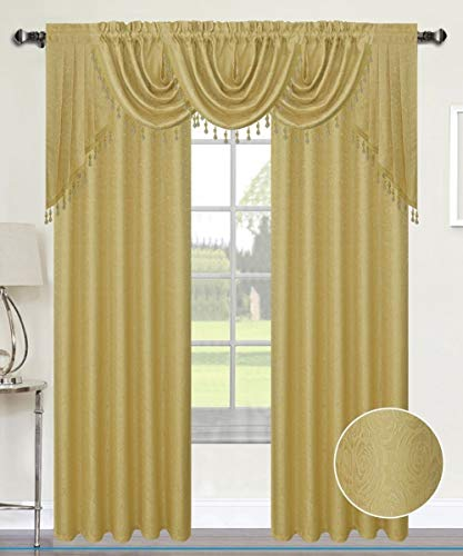Luxury Home Textiles Angelina Damask 7 Piece Curtain, Beaded Austrian VALANCES and Swag Set, Gold