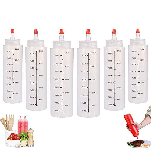 Squeeze Bottle, 6 Pcs 250ml Botella de Salsa, Dispensador de Botellas de Plástico - Ninguna Fuga, Sin BPA, para Condimentos, Salsa de Tomate, Mostaza, Mayonesa, Salsa Picante Y Aceite De Oliva