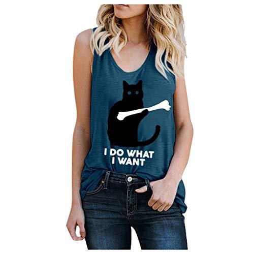 Mujer Casual Camiseta de Verano Camisa Sin Mangas Pluma Impresión Camisola Tops...