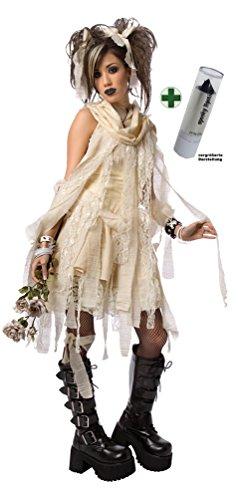 Kostüm Gothic sexy Mumie Damen Halloween Karneval Mumien Damenkostüm INKL. Lippenstift schwarz