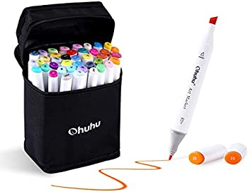 Ohuhu Markers Alcohol Based Double Tipped Art Markers for Kids Adults Coloring Drawing Illustrations 40 Unique Colors + 1 Colorless Alcohol Marker Blender + 1 Marker Case Chisel & Fine Dual Tips