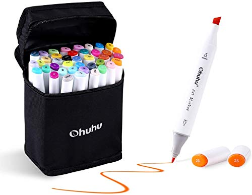 Ohuhu Markers Alcohol Based Double Tipped Art Markers for Kids, Adults Coloring Drawing Illustrations, 40 Unique Colors + 1 Colorless Alcohol Marker Blender + 1 Marker Case, Chisel & Fine Dual Tips