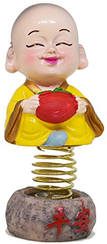 Indian Decor & Attire Takashi Little Yellow Buddha Monk with Bobble Head/Nodding Head 9Cm Idol Figurine Showpiece