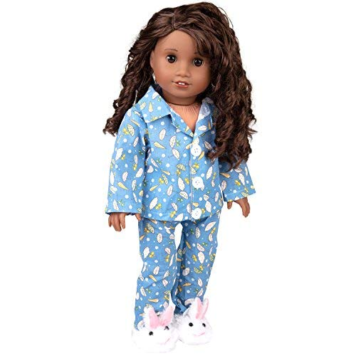 Dress Along Dolly Easter Bunny Pajamas Doll Outfit for American Girl & 18' Dolls (3 Piece Set) - Premium Handmade Clothes Include Rabbit Shirt, Pants, & Bunny Slippers - Premium PJs Apparel for Doll