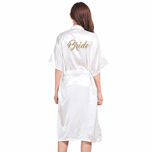 BOYANN Novia Estampado en Caliente Ropa de Dormir Sexy Batas y Kimonos de Satén, Blanco XXXL