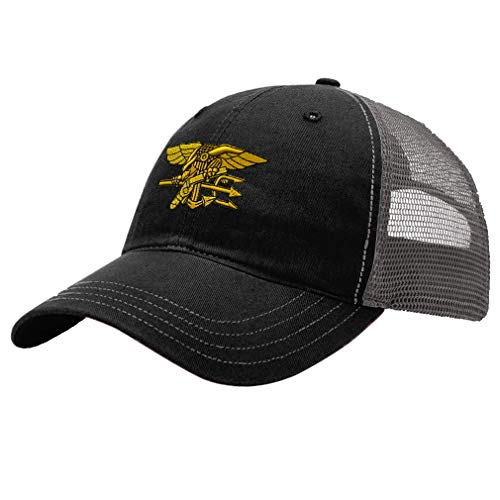 Trucker Hat Richardson U.S. Navy Seal Embroidery Military Unit Cotton Soft Mesh Cap Snaps - Black/Charcoal, Design Only