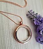 Collier médaillon en Or Rose avec boîte cadeau Médaillon Flottant 30 mm Médaillon en verre avec chaîne en or rose breloque flottant