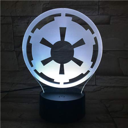 WoloShop Lampara LED Logo Imperio Star Wars Cambia Color USB Luz Nocturna