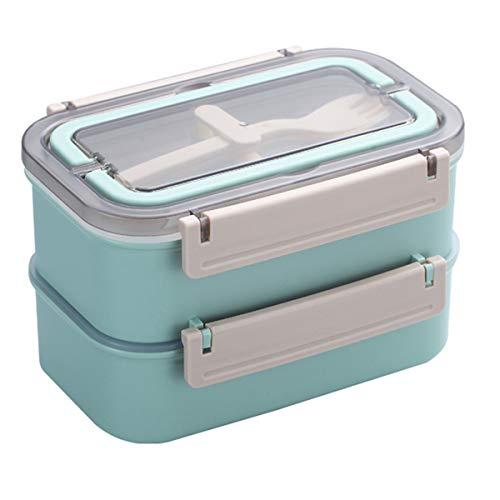 Lunchbox - Brotdose mit Fächern Praktische Bento Box mit Edelstahlbehälter und Griff. Zweischichtige Lunchbox, Frühstücksbox, Picknickausflug, Handgepäck mit Löffel, Gabel (Nordic Grün)