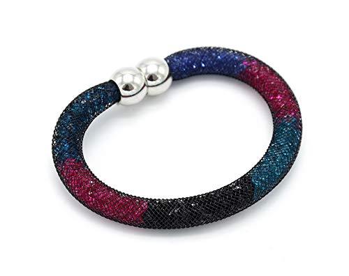 BC522-Brazalete magnético Stardust tubo de rejilla elaborada. con cristales multicolor-modo de fantasía