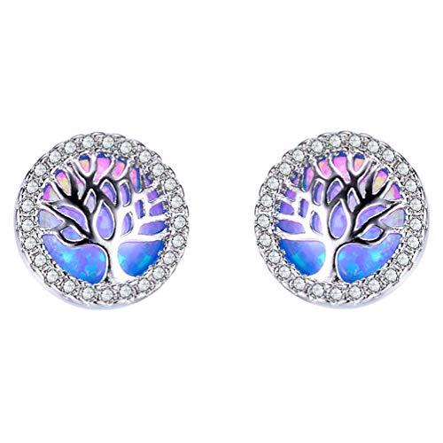 HIJONES Women's 925 Sterling Silver Round Cubic Zirconia Opal Tree of Life Stud Earrings Blue Hypoallergenic