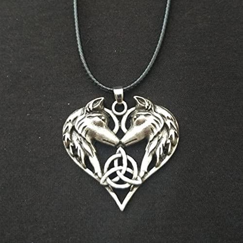 hcma clásica Moda Lobo Celta Amor corazón Colgante Collar de Pareja Collar de cordón de Cuero Regalo