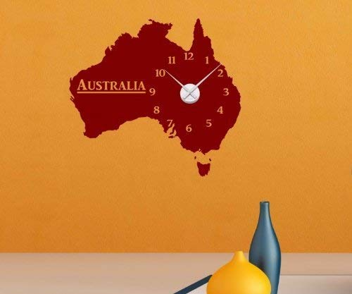 Wandtattoo Uhr Australien 60cmx55cm Wand Tattoo Sticker Wanduhr Aufkleber 1X172, Farbe:Schwarz Matt;Farbe der Uhr:Farbe der Uhr Silber