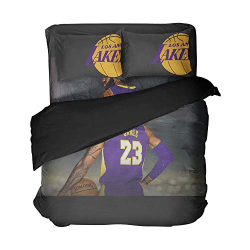 4PCS Men's Basketball Player Number 23 Duvet Covers Los Angeles Bedding League Sports Bed Sets Cotton Bedspread Soft Flat Sheet Twin for Boys