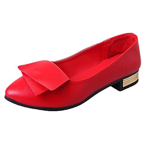 Dorical Pumps für Damen,Frauen Geschlossene Ballerinas Flats,Sommerschuh,klassisch Elegant,Blockabsatz 2.5cm Freizeitschuhe Gr 35-40(Rot,40 EU)
