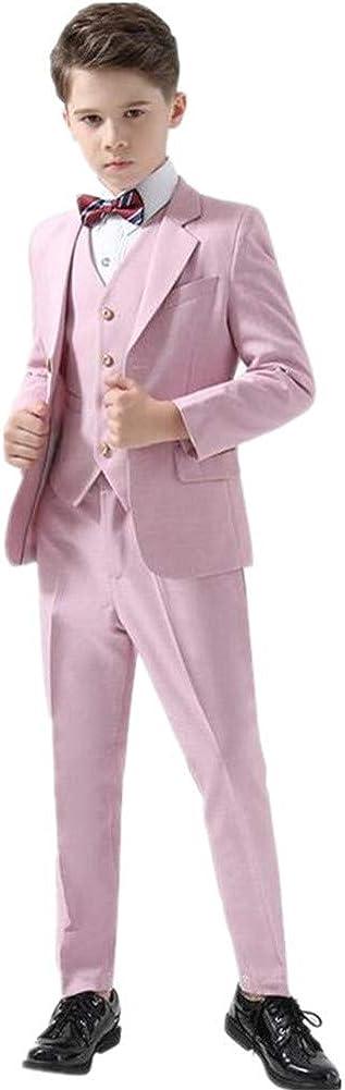 4 Pieces Pink Boy Suits Tuxedo Slim Fit(Jacket+Pants+Vest+Bowtie) Party Performance