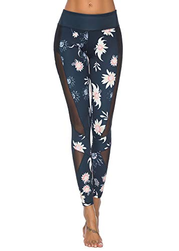 Mint Lilac Women's High Waist Floral Printed Pocket Yoga Pants Leggings Athletic Tummy Control Casual Pants with Mesh Panels Navy Blue Large