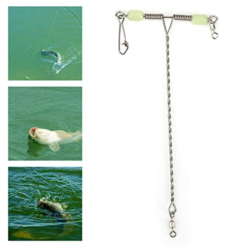 10 UNIDS Equilibrio en Forma de T Conector Giratorio de Pesca de Acero Inoxidable Conector Giratorio con Perlas Luminosas para la Conexión