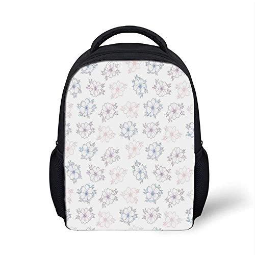 Anemonen-Blumen-stilvoller Rucksack, Brautcorsage-Entwurfs-Garten-Bettwäschepflanzen in den weichen Farben dekorativ für Schulreise, 9,4 'L x 3,5' B x 12,2 'H