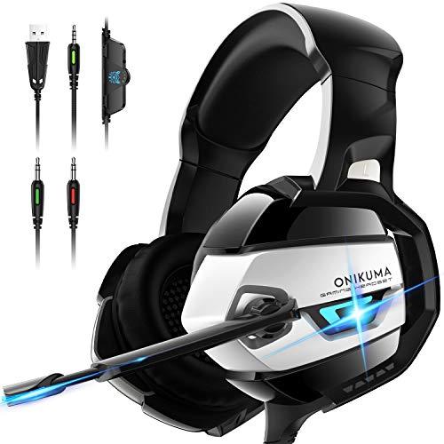 ONIKUMA Auriculares con reducción de ruido y micrófono con sonido envolvente 7.1 - Protección auditiva suave para PS4, Xbox One, PC, Mac - Negro