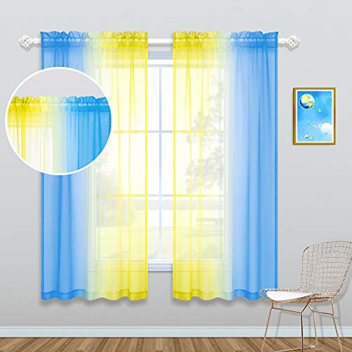 Yellow and Blue Curtains for Boys Bedroom Decor Set 2 Panels Rod Pocket Window Sheer Ombre Hanukkah Decorations for Boys Room Kids Gift Game Playroom Cartoon Fun Party Backdrop 50 by 63 Inch Length