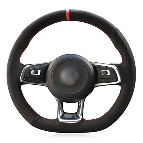 jkhsXJ Cubierta de Volante de Coche de Gamuza Negra Cosida a Mano, para Volkswagen Golf 7 GTI Golf R MK7 VW Polo GTI Scirocco 2015 2016