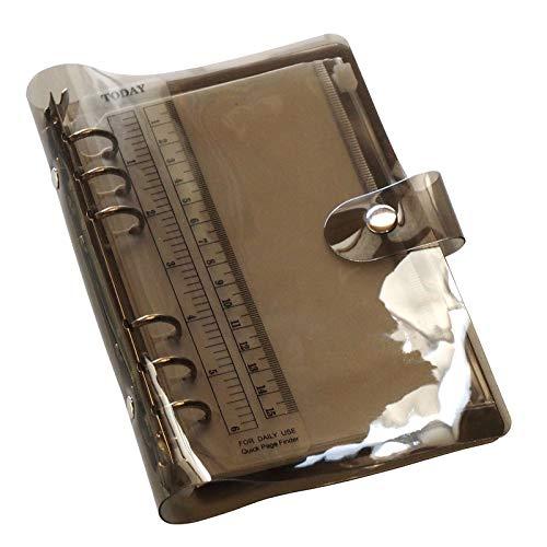 TSUKURIRO ブラック 半透明バインダー システム手帳 リング リフィル ファスナークリアポケット 無地ノート 付き セット (B6,バイブルサイズ)