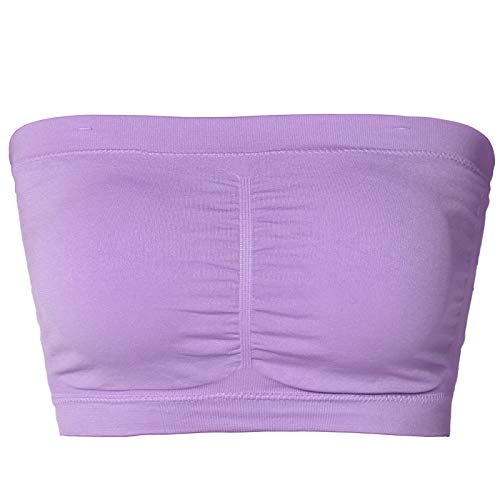TheMogan Junior's Seamless Removable Pad Bandeau Layering Bra Top Lavender ONE Size