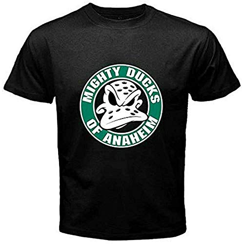 JNT New Mighty Ducks of Anaheim NHL Hockey League Logo Men\'s Black T-Shirt VTRYER