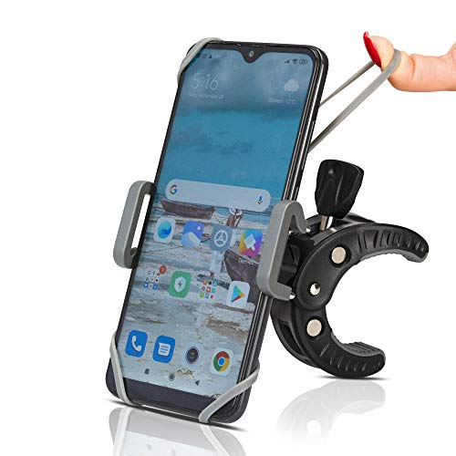 Stroller Cell Phone Holder Mount-Universal Clamp, Also for Bike, Boat, Golf and Grocery Cart, Fits Apple iPhone, Samsung Galaxy, Google Pixel, LG, HTC, Moto, All Smartphones