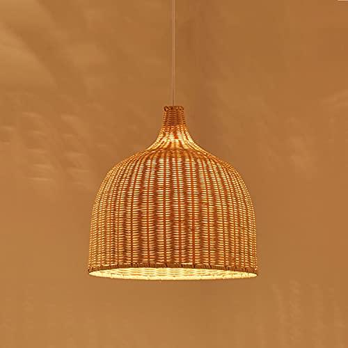OHKKSD Iluminación Colgante de Mimbre de bambú, Accesorios de iluminación Colgantes de bambú Tejido Lámpara Colgante de Tejido de Mimbre bambú con Cable para Sala...
