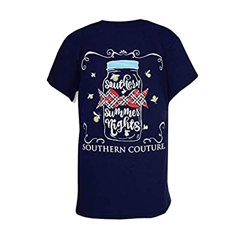 Southern Couture SC Classic Summer Nights Fireflies Womens Classic Fit T-Shirt - Navy, Medium