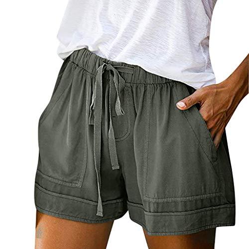 Dasongff Damen Shorts Kurze Hose Sommer Freizeithosen Urlaub Casual Drawstring Elastische Taille Beach Pocketed Shorts Hotpants Strand Schwimmshorts Capri Thai Hose Weich Sommerhose