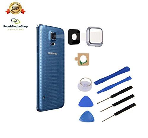für Samsung Galaxy S5 Weiss KAMERALINSE Kamera LINSE Glas Scheibe Lens Rahmen OBJEKTIV + WERKZEUGSET